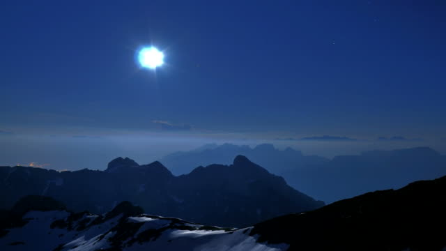full moon over mountains, Alps, view from Säntis