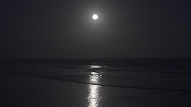 full moon over the atlantic ocean in brazil - brasile meridionale video stock e b–roll