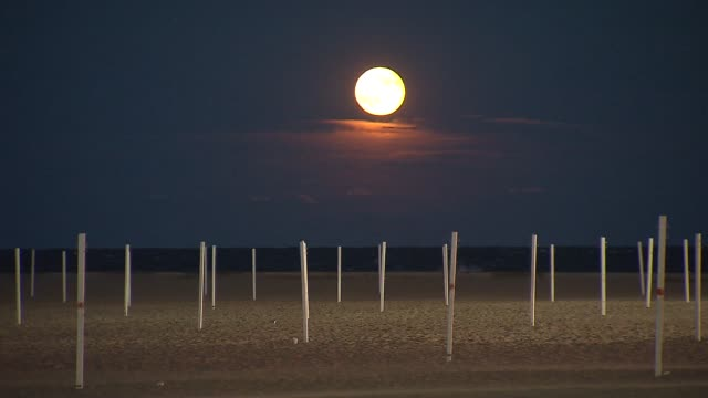 full moon over the beach on july 23 2013 in chicago illinois - full moon stock videos & royalty-free footage
