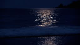Full moon reflection on a Caribbean Beach