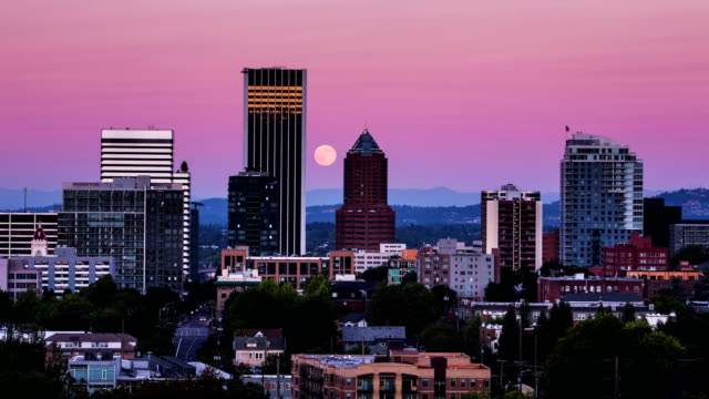 Full Moon Rising Over Downtown Portland Oregon