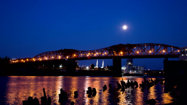 Full Moon Rising Over the Broadway Bridge