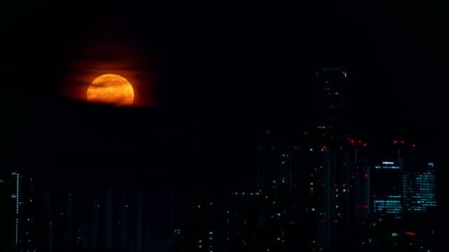 full moon scenery over songdo international business district / yeonsu-gu, incheon, south korea - public park stock videos & royalty-free footage