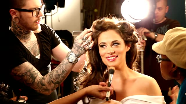 full on-set makeup workover - fashion model stock videos & royalty-free footage
