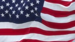 Full Screen USA Flag is Waving Slowly