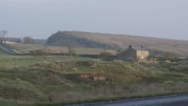 full shot of a farm at once brewed with the hadrians wall in the background - horse family stock videos & royalty-free footage