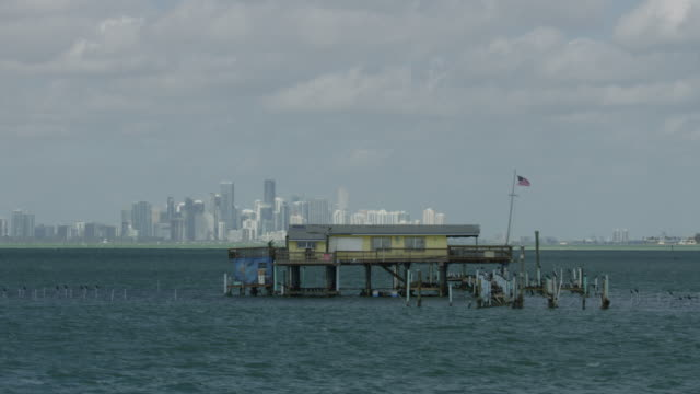 full shot of a stilt house with downtown miami in the background - stilt house stock videos & royalty-free footage