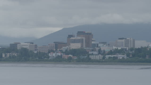 full shot of anchorage city landscape - anchorage alaska stock videos and b-roll footage