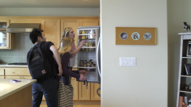 full shot of group of friends entering a house and packing out from the refrigerator - 到着点の映像素材/bロール
