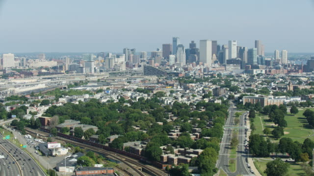 full shot of the boston skyline as seen from above dorchester - massachusetts stock videos & royalty-free footage