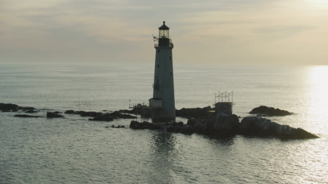 full shot of the graves light - north atlantic ocean stock videos & royalty-free footage