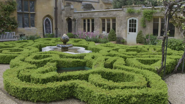 full shot of the knot garden at sudeley castle - british royalty stock videos & royalty-free footage