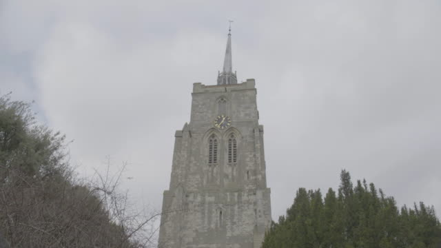 full shot of the tower of the church of st mary the virgin in ashwell - ornate stock videos & royalty-free footage