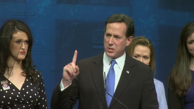 full speech from rick santorum at cpac conservative political action conference was filmed and is available rick santorum at cpac marriott wardman... - 2012 united states presidential election stock videos & royalty-free footage