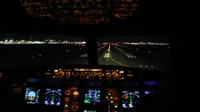 Full take off sequence with view inside cockpit