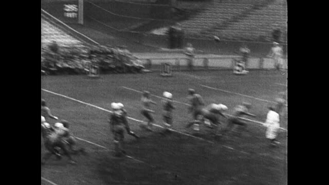 stockvideo's en b-roll-footage met full tiered football stadium crowd fans in coats. college football game play: quarterback throwing long pass intercepted tackled at 35 yard line.... - 1936