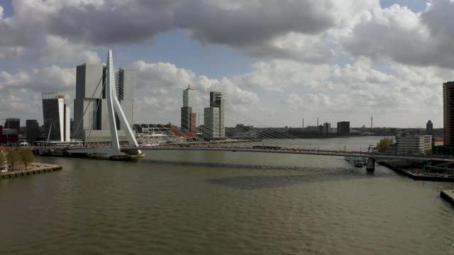 full view of erasmus bridge in rotterdam - bascule bridge stock videos & royalty-free footage