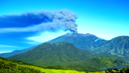 FullHD Timelapse. Eruptions Raung volcano, panoramic view. East Java, Indonesia - 25 July 2015