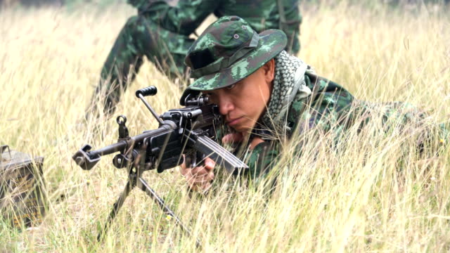 Fully Equipped and Armed Soldiers concentrate on the target
