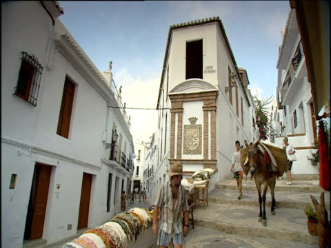 stockvideo's en b-roll-footage met fully loaded packhorse donkey being led down steps surrounded by whitewashed spanish houses in narrow street female tourist films the scene with home video camera; spain - paardachtigen