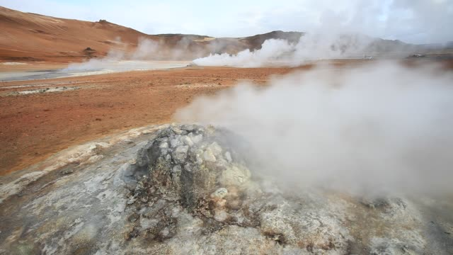fumaroles emitting steam in the geothermal area of hverir near myvatn, northern iceland. - boiling stock videos & royalty-free footage