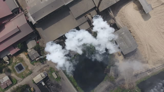 fumes, air pollution from factory, aerial shot - carbon dioxide stock videos & royalty-free footage