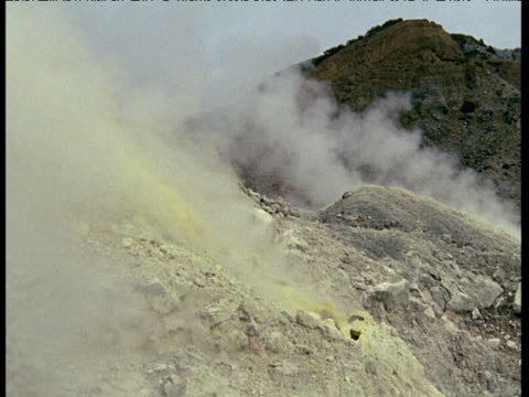 Fuming volcanic vents release sulfurous gases, Java