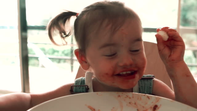 fun baby spaghetti - hygiene stock videos and b-roll footage