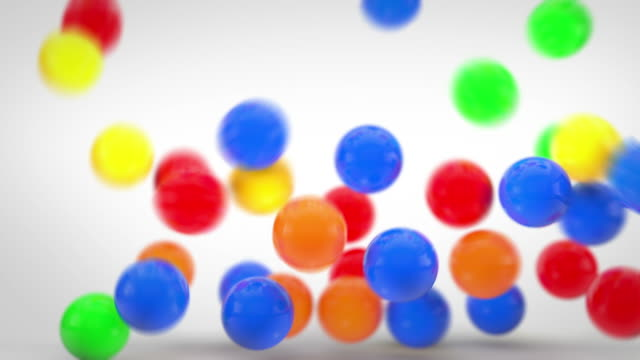 fun bouncy balls animation - colourful (full hd) - ball stock videos and b-roll footage