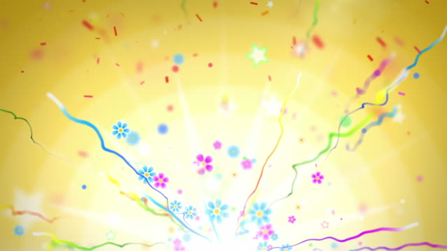 fun celebration background - party yellow (full hd) - anniversary stock videos & royalty-free footage