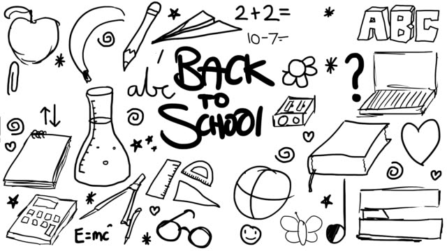 fun colourful hand drawn animated sketches - kids in a row stock videos & royalty-free footage