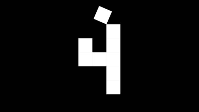 fun cube numbers set from 0 to 10, 2d real physics boxes on black background (loop 4k) - number 4 stock videos & royalty-free footage