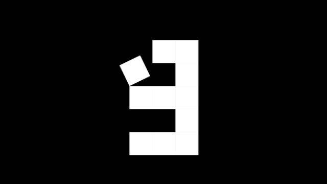 fun cube numbers set from 0 to 10, 2d real physics boxes on black background (loop 4k) - number 3 stock videos & royalty-free footage