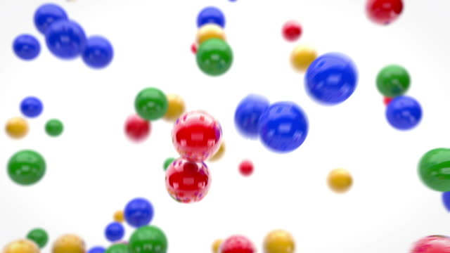 fun flying balls animation - colourful (full hd) - ball stock videos and b-roll footage