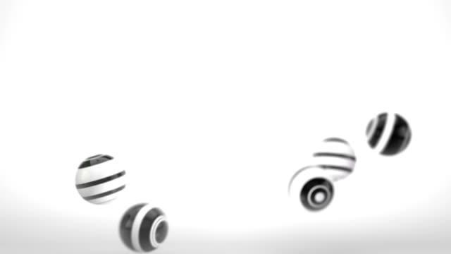 Fun Glossy Balls Animation - Black & White Stripes (HD)