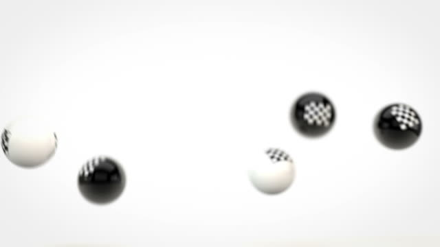 fun glossy balls animation - racing chequered flags (full hd) - motorsport stock videos & royalty-free footage