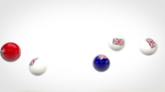 fun glossy balls animation - united kingdom flags (full hd) - british empire stock videos & royalty-free footage