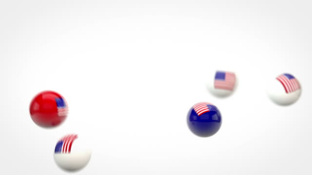 Fun Glossy Balls Animation - USA flags (Full HD)
