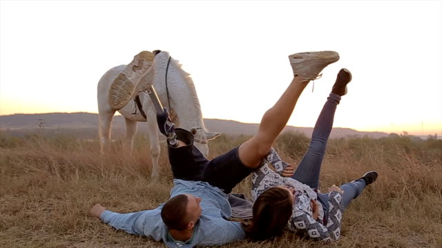 fun in the nature.happy couple in love!man with prosthetic leg with girl on dating in the nature - prosthetic equipment stock videos & royalty-free footage