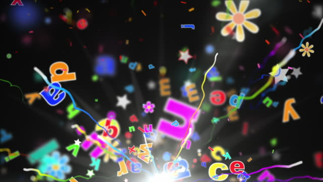 fun kids background loop - alphabet letters black (full hd) - english culture stock videos & royalty-free footage