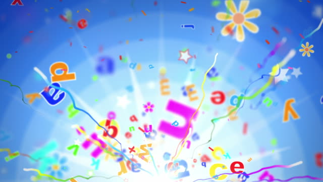 fun kids background loop - alphabet letters blue (full hd) - english culture stock videos & royalty-free footage