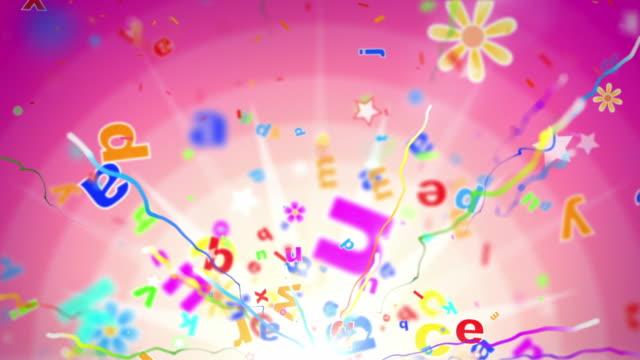 vídeos y material grabado en eventos de stock de diversión para niños fondo lazo rosa alfabeto letras tropical de alta definición - cultura inglesa