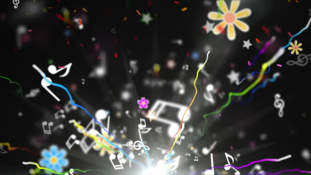 fun kids background loop - musical notes black (full hd) - streamer stock videos & royalty-free footage