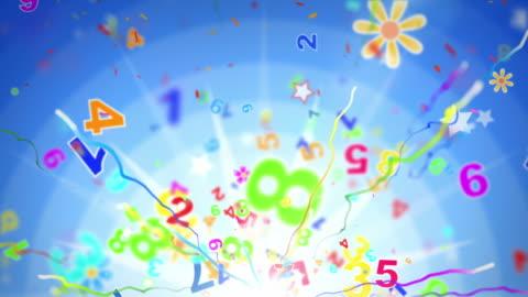stockvideo's en b-roll-footage met fun kids background loop - numbers blue (full hd) - tekst