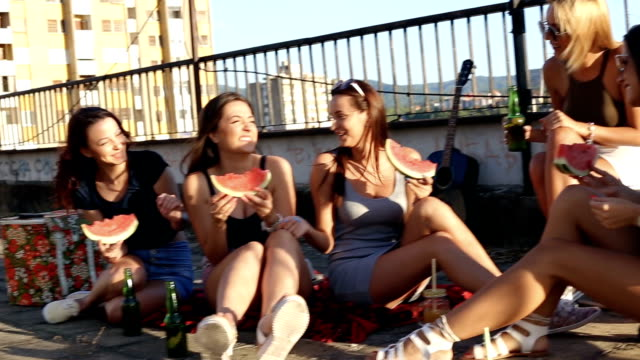 fun on building roof with friends - girlfriend stock videos & royalty-free footage