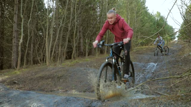 fun on the dirt track - mountain bike stock videos & royalty-free footage