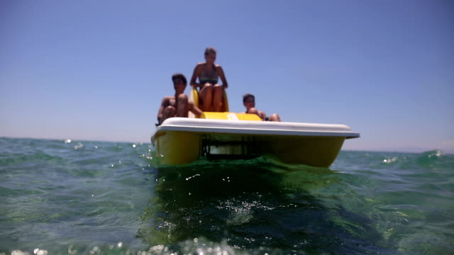 Fun on the pedal boat in the summer