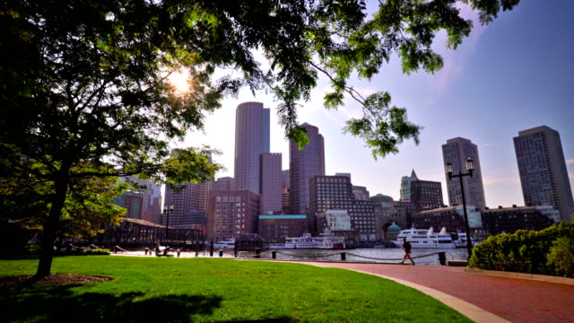fun pier park and business district boston - vita cittadina video stock e b–roll