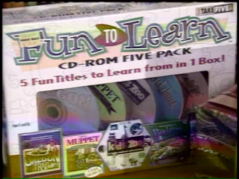 fun to learn cd-rom five pack on november 09, 1995 in chicago, illinois - cd rom stock videos & royalty-free footage