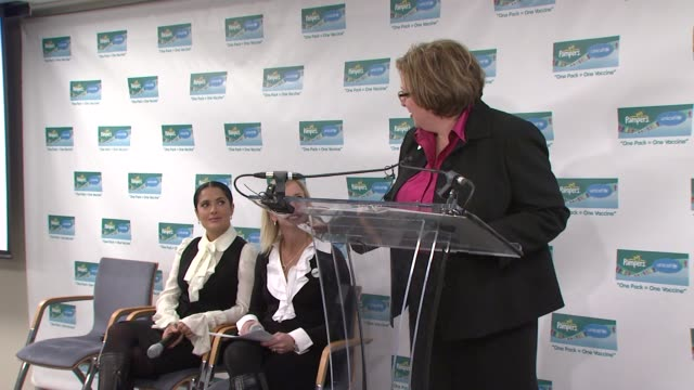 us fund for unicef president caryl stern on working with pampers at the salma hayek and unicef announce 2nd wave of 'one pack = one vaccine' campaign... - salma hayek stock videos and b-roll footage